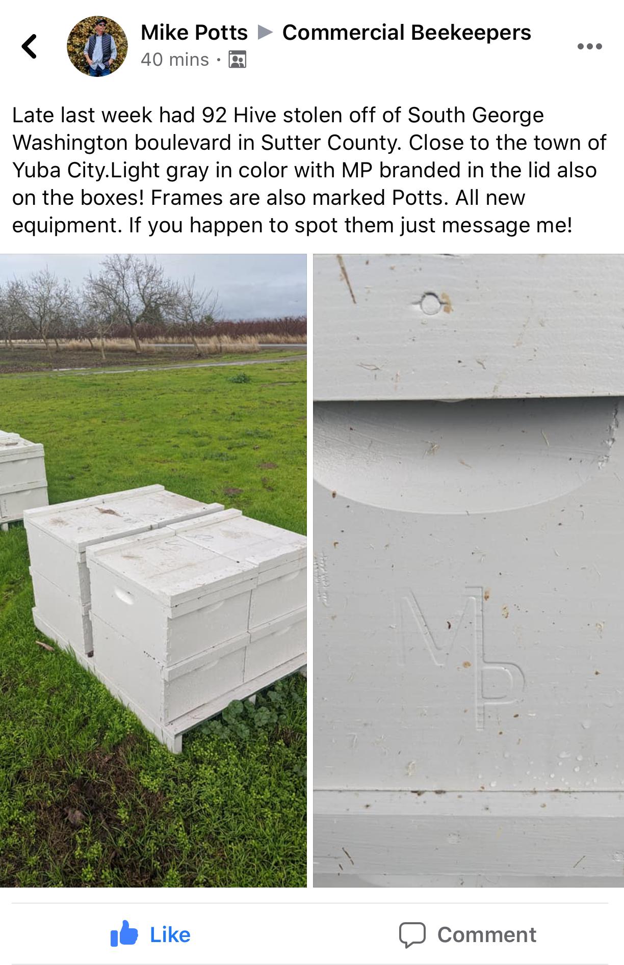 January 17, 2020 – Hive Theft Alert